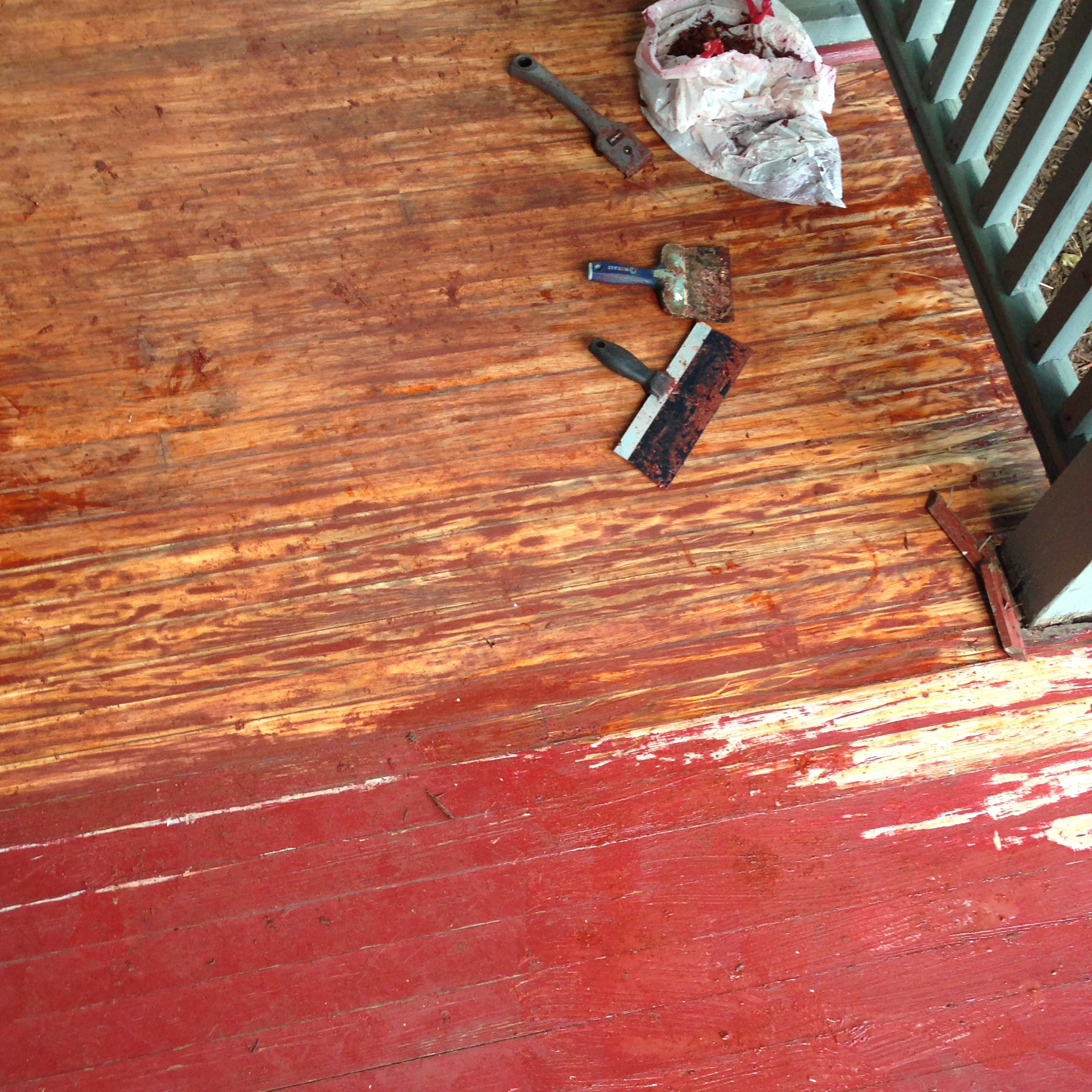 this is where we first realized there are two different types of wood under this bright red paint